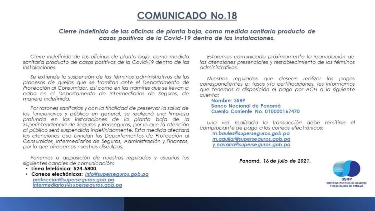 Comunicado-018-2021, sobre el cierre indefinido de las oficinas de planta baja , como medida sanitaria producto de casos positivos de la Covid-19 dentro de las instalaciones.